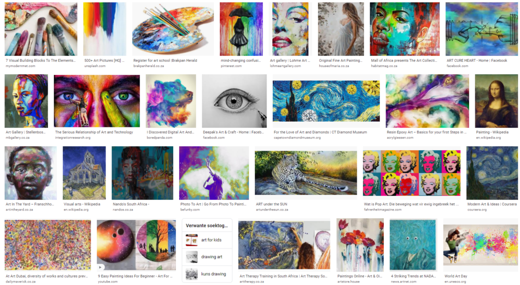 Google Images of paintings to Illustrate the artform most prevalent in people's minds.