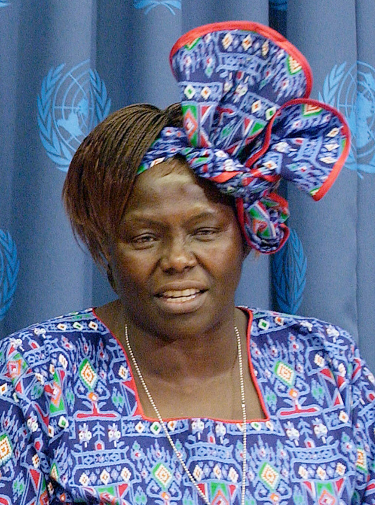 Photograph of Wangari Maathai in blue traditional dress