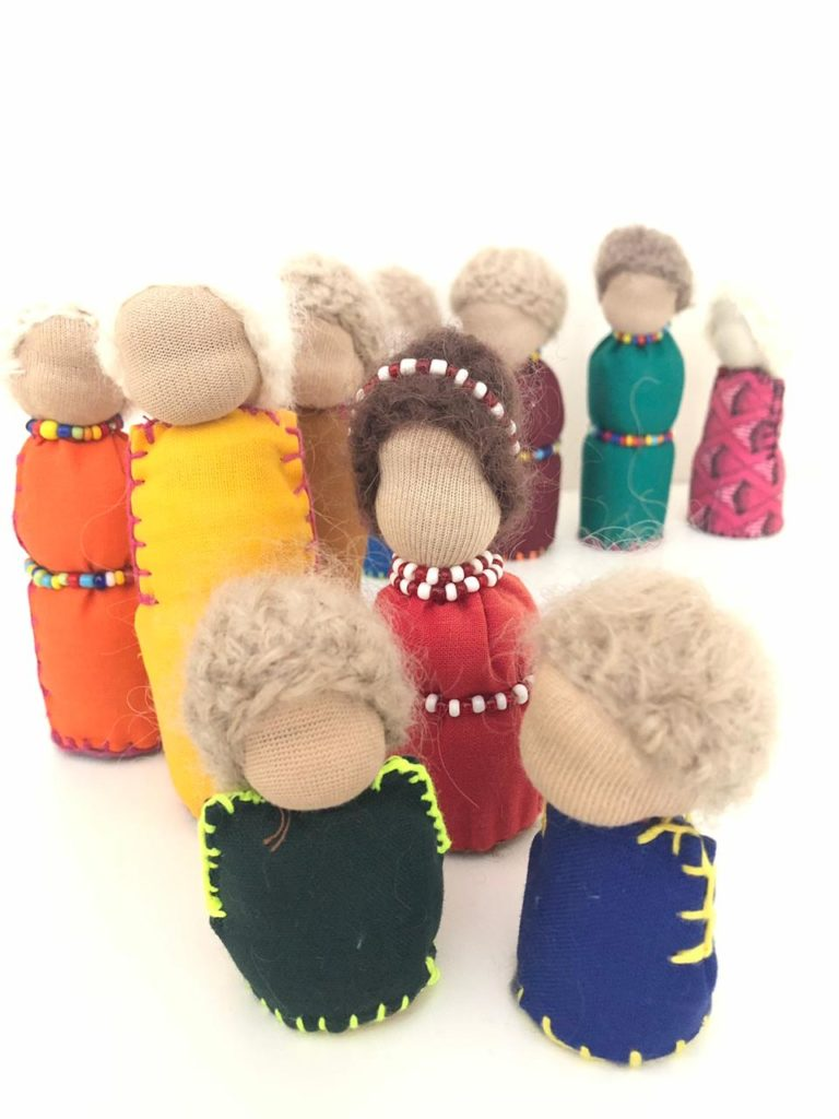 Miniature fabric dolls