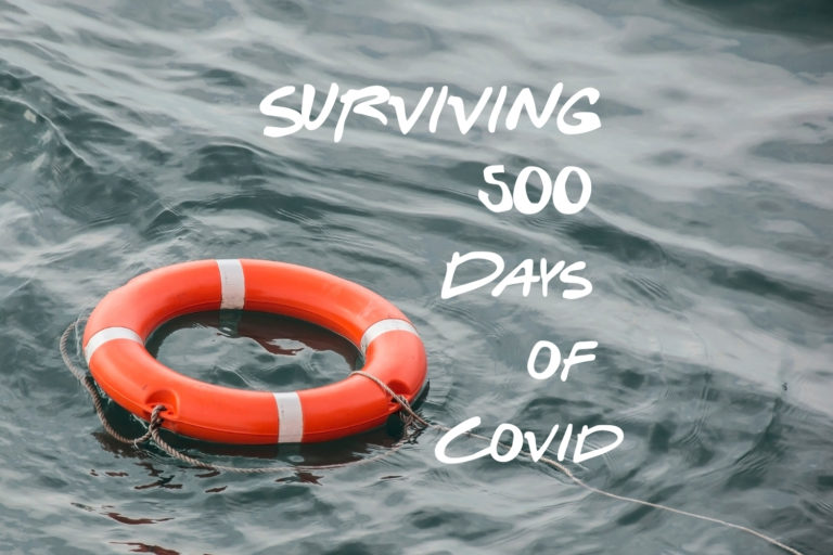 lifebelt on water, text surviving 500 days of Covid