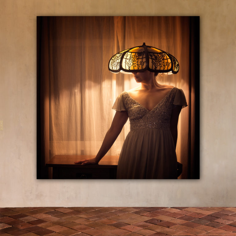 Woman with lampshade on her head