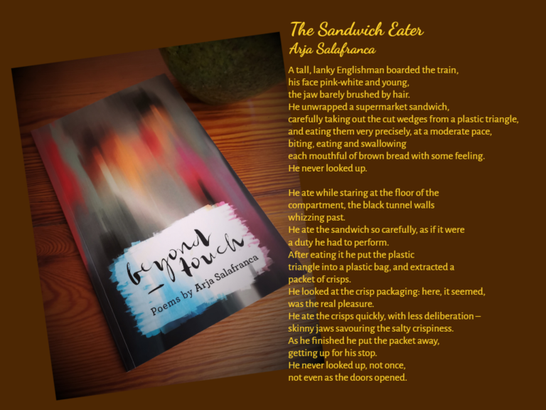 Photograph of 'Beyond Touch' by Arja Salafranca and the text of one of the poems in the book: The Sandwich Eater